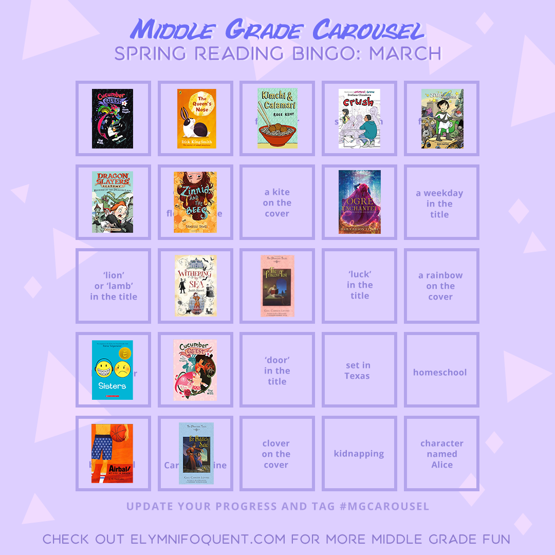 Reading bingo card from Middle Grade Carousel