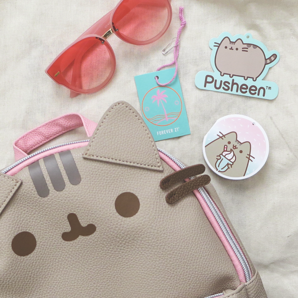 Pusheen backpack, clothes tags, and pink sunglasses