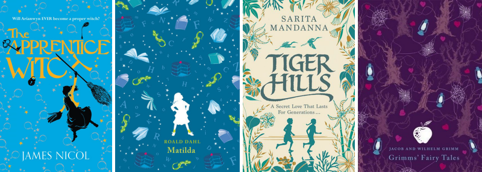 Book covers for The Apprentice Witch by James Nicol, Matilda by Roald Dahl, Tiger Hills by Sarita Mandanna, and Grimms' Fairy Tales by Jacob & Wilhelm Grimm
