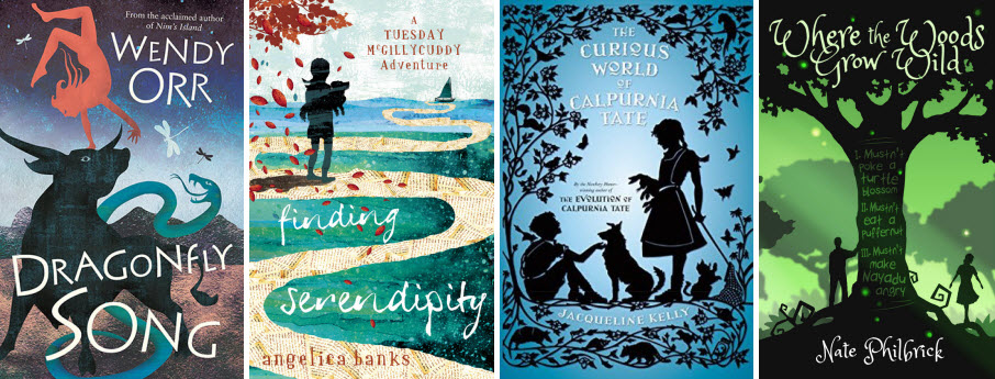 Book covers for Dragonfly Song by Wendy Orr, Finding Serendipity by Angelica Banks, The Curious World of Calpurnia Tate by Jacqueline Kelly, and Where the Wods Grow Wild by Nate Philbrick