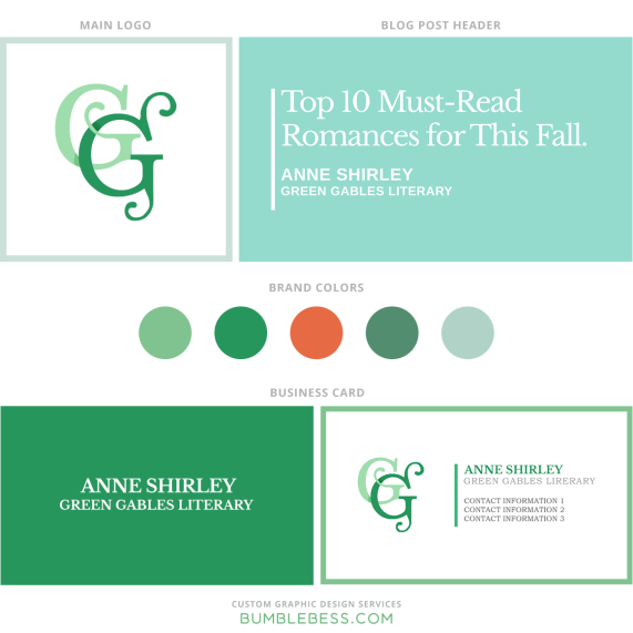 Visual branding samples by Elza Kinde for Anne Shirley of Green Gables Literary