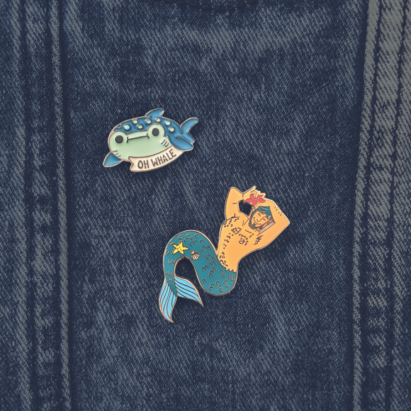 Undersea themed enamel pins