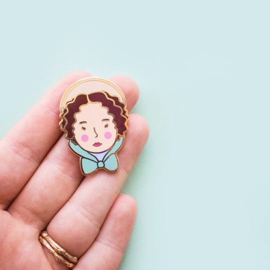 Pin featuring artwork of Elizabeth Bennet from Jane Austen's Pride & Prejudice
