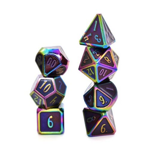 Polyhedral dice set in purple & iridescent metal