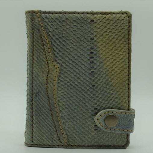 leather notebook made with green salmon skin