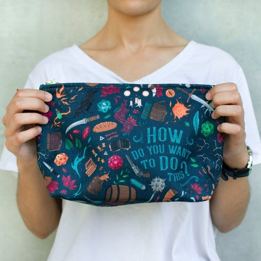 """D&D themed pouch with custom art: """"how do you want to do this?"""""""