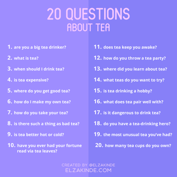 20 Questions About Tea graphic for social media