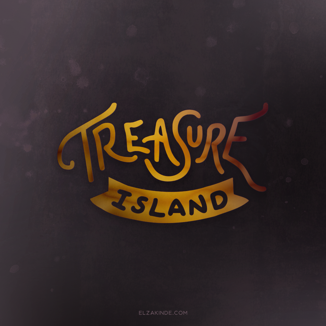 """Treasure Island"" lettering by Elza Kinde"