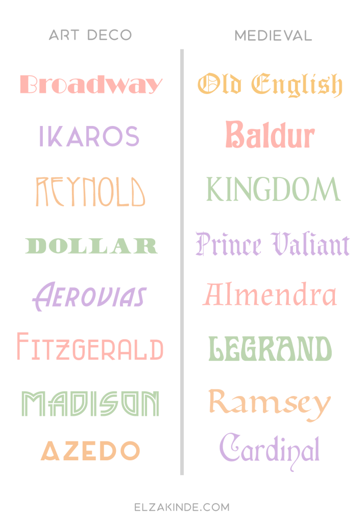 Examples of Art Deco and Medieval fonts.