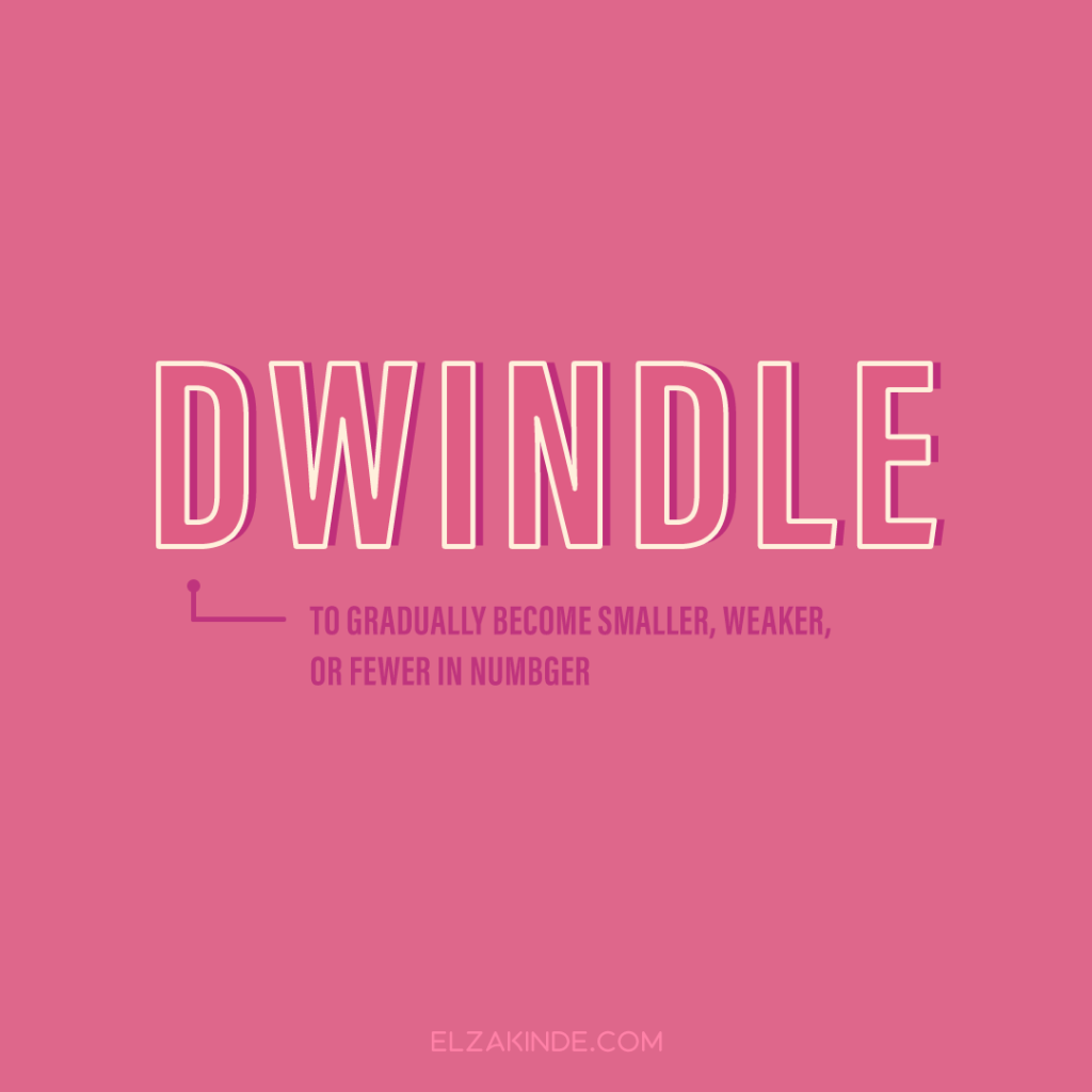 Dwindle: to gradually become smaller, weaker, or fewer in number