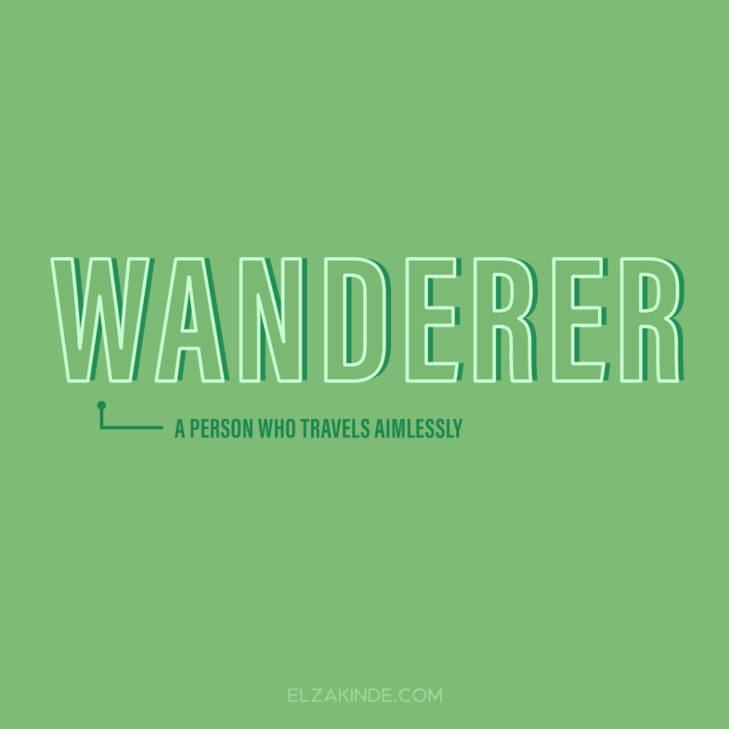 Wanderer: a person who travels aimlessly