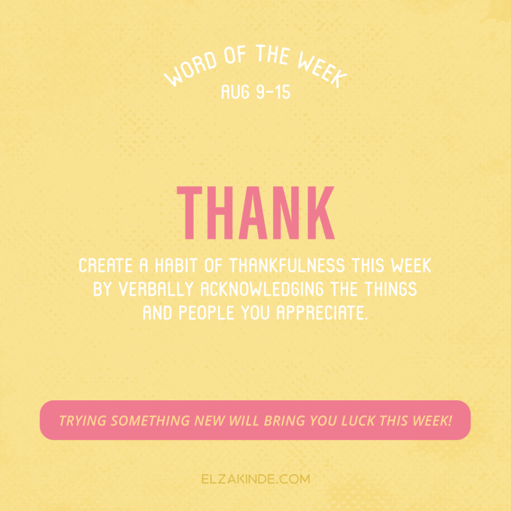 Word of the Week August 9-15: Thank
