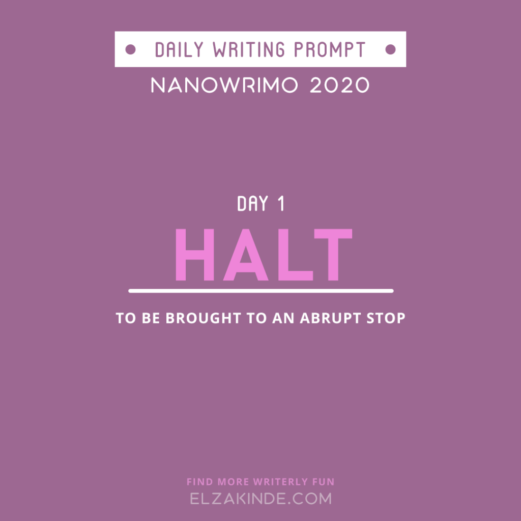 Daily Writing Prompt Day 1: HALT | To be brought to an abrupt stop.