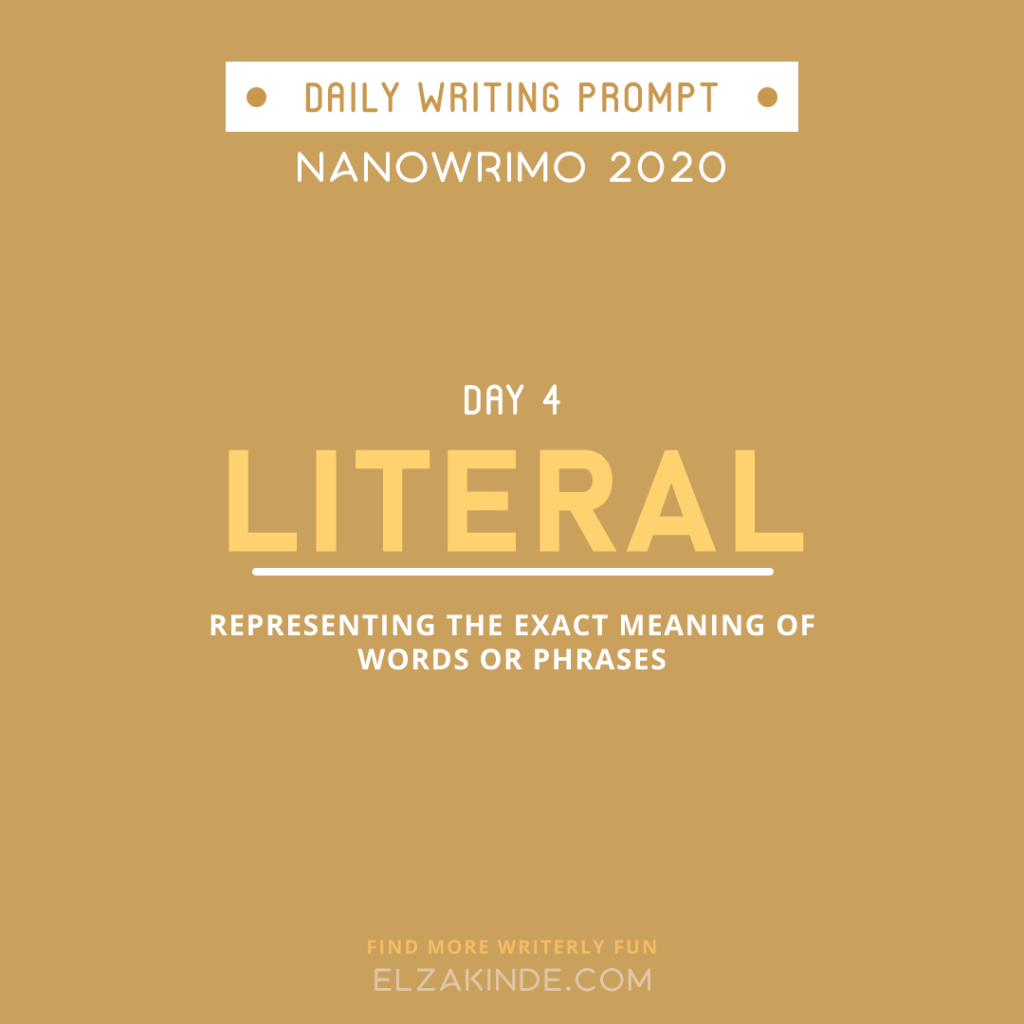 Daily Writing Prompt Day 4: LITERAL | Representing the exact meaning of words or phrases.