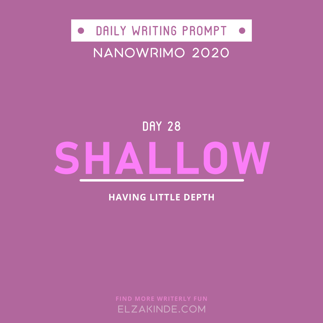 Daily Writing Prompt NaNoWriMo 2020 | Day 28: SHALLOW | having little depth