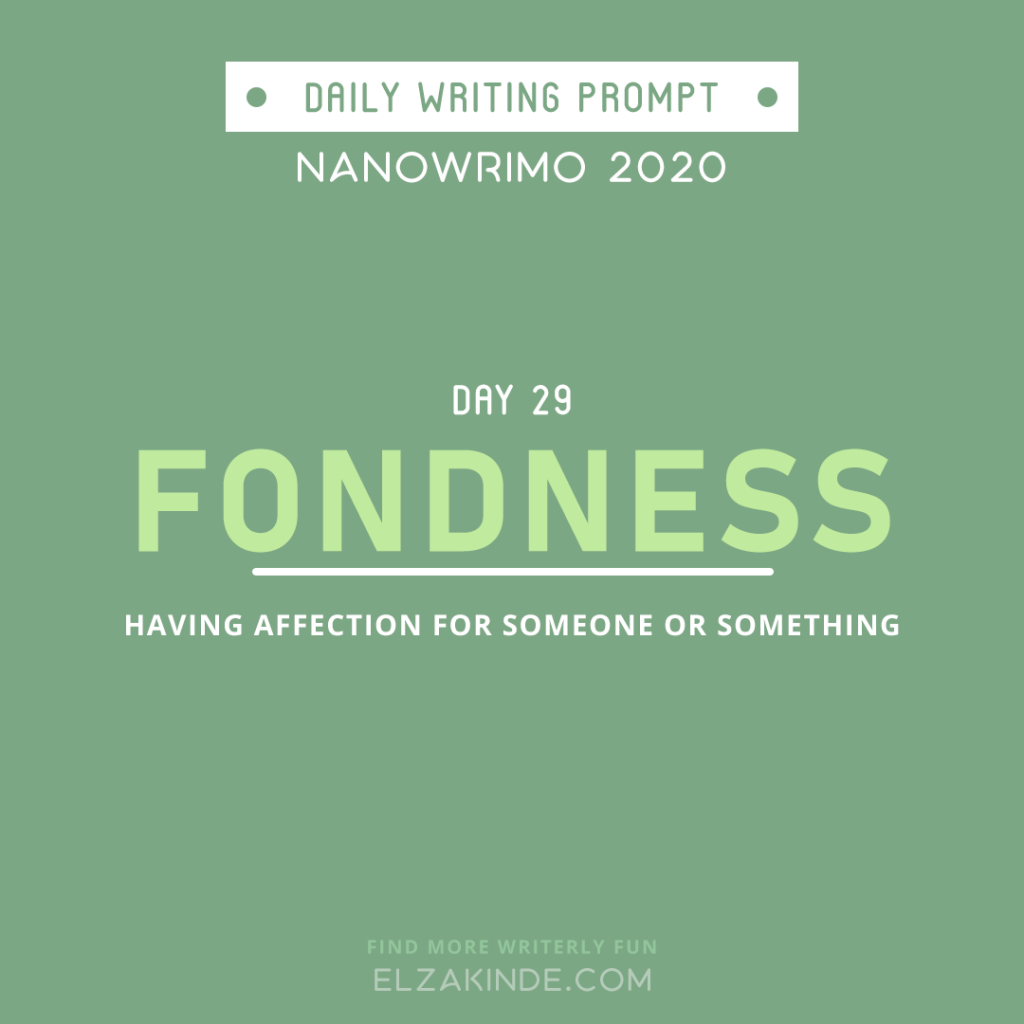Daily Writing Prompt Day 29: FONDNESS | Having affection for someone or something.