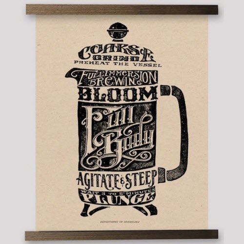 French Press typographic print from Department of Brewology