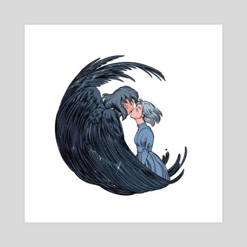 Art print from the artist Ibon features Howl Pendragon and Sophie Hatter from the Studio Ghibli film Howl's Moving Castle.