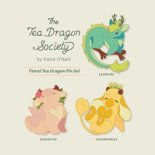 enamel pins featuring the Jasmine, Hibiscus, and Chamomile dragons from The Tea Dragon Society by Katie O'Neill