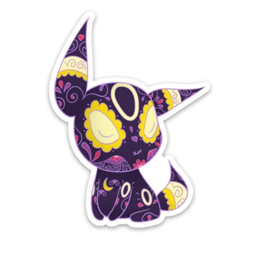Mockup of a Pokemon sticker from PopMuertos featuring Umbreon with a day of the dead sugar skull design