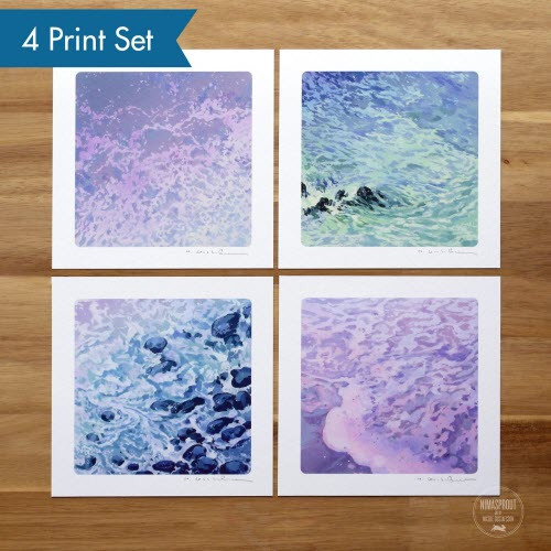 Set of four art prints featuring ocean waves by Nicole Gusafsson