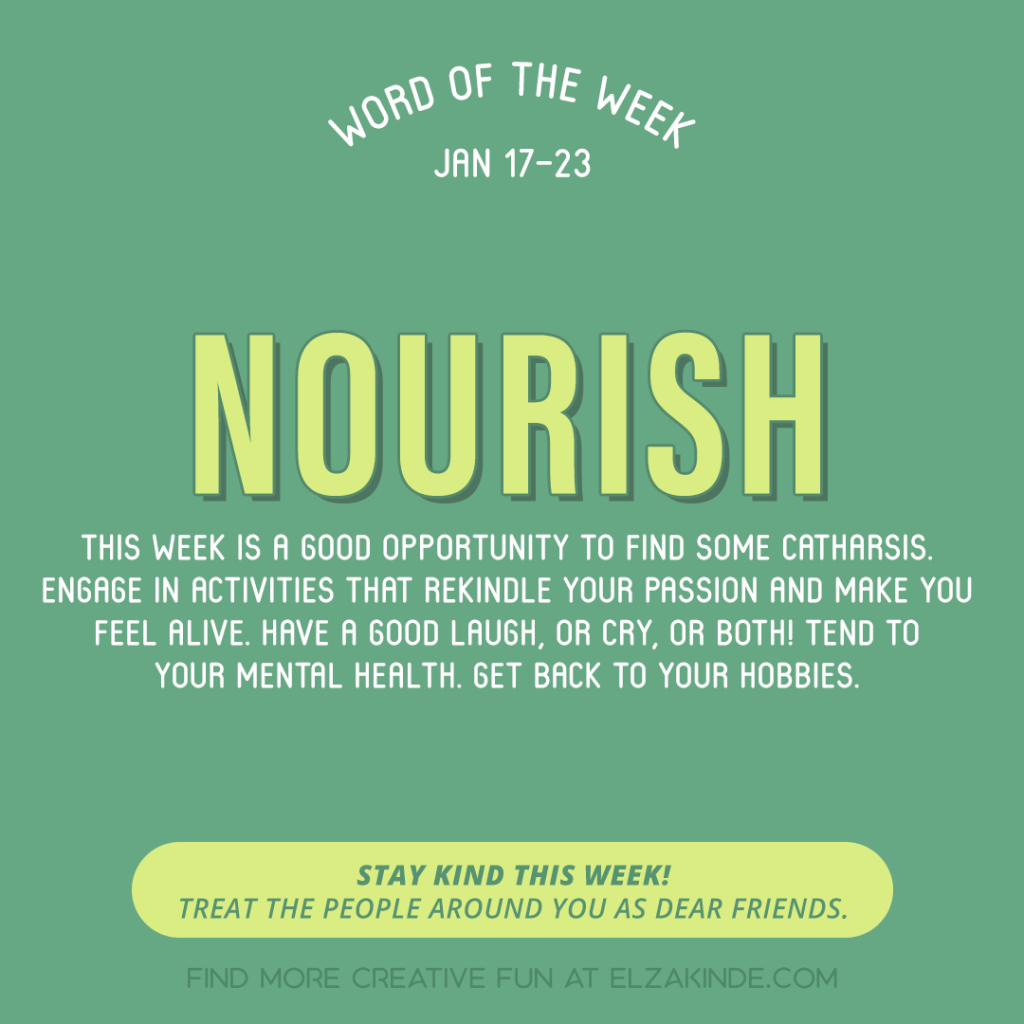 Word of the Week January 17-23: Nourish