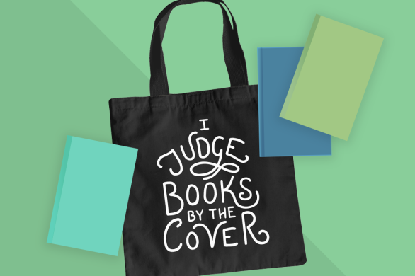 Mockup of a tote bag features the I JUDGE BOOKS BY THE COVER hand lettered design from BumbleBess.com
