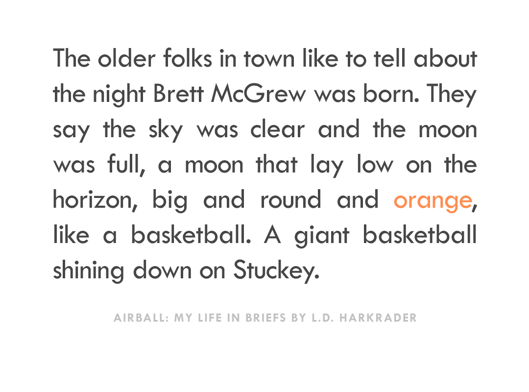"""The older folks in town like to tell about the night Brett McGrew was born. They say the sky was clear and the moon was full, a moon that lay low on the horizon, big and round and orange, like a basketball. A giant basketball shining down on Stuckey."" -Airball: My Life in Briefs by L.D. Harkrader"