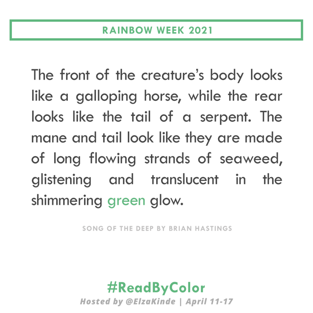 """""""The front of the creature's body looks like a galloping horse, while the rear looks like the tail of a serpent. The mane and tail look like they are made of long flowing strands of seaweed, glistening and translucent in the shimmering green glow."""" -Song of the Deep by Brian Hastings"""