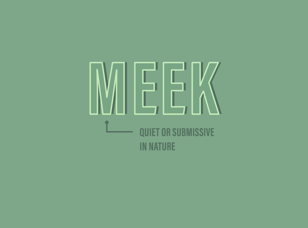 Meek: quiet or submissive in nature