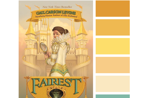 #Read By Color: Magic Mirror | features the book cover of FAIREST by Gail Carson Levine and a complimentary color palette.