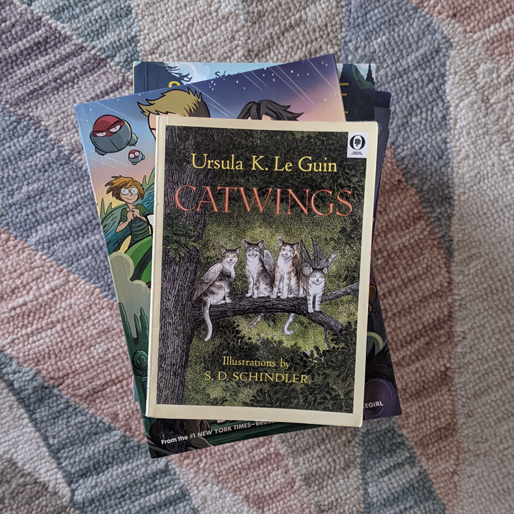 Photograph featuring the book CATWINGS by Ursula K. Le Guin