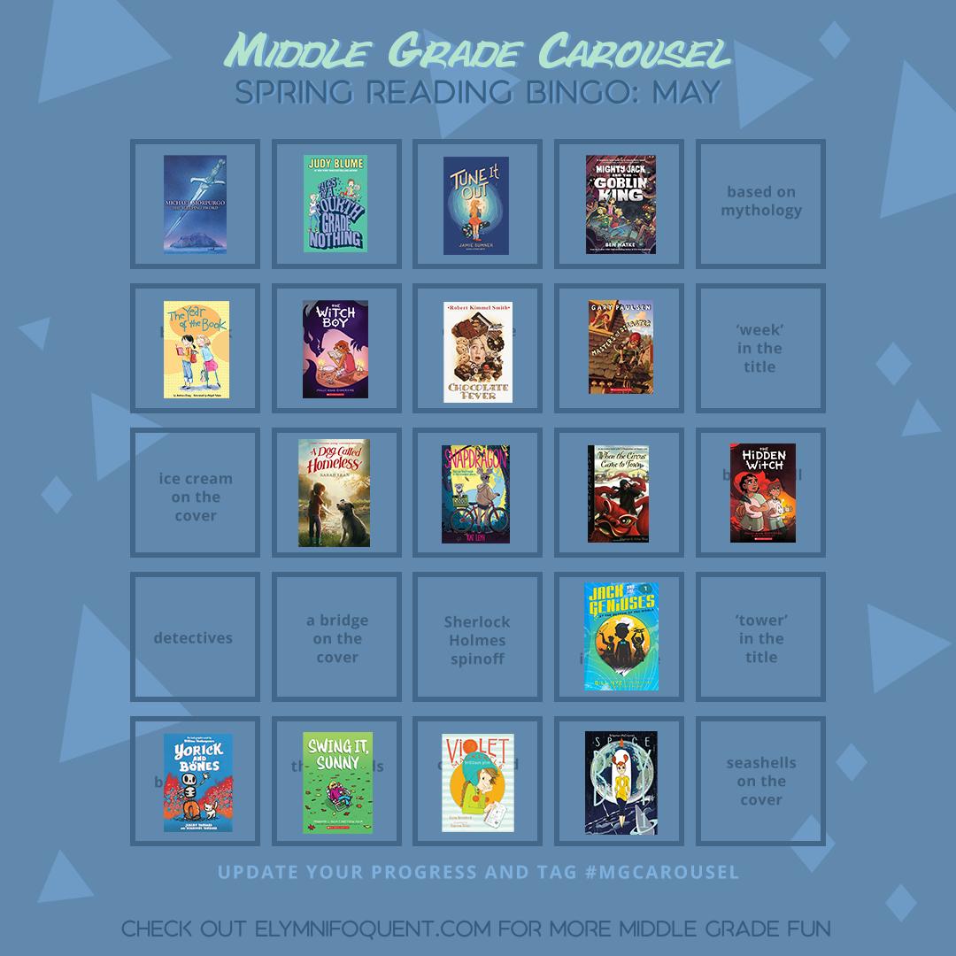 Elza's bingo card for Middle Grade Carousel's Spring Reading Bingo challenge.