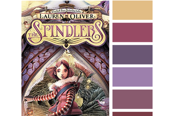 #Read By Color: To the Rescue   features the book cover of THE SPINDLERS by Lauren Oliver and a complimentary color palette.