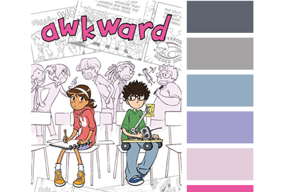 #Read By Color: At First Sight   features the book cover of AWKWARD by Svetlana Chmakova and a complimentary color palette.