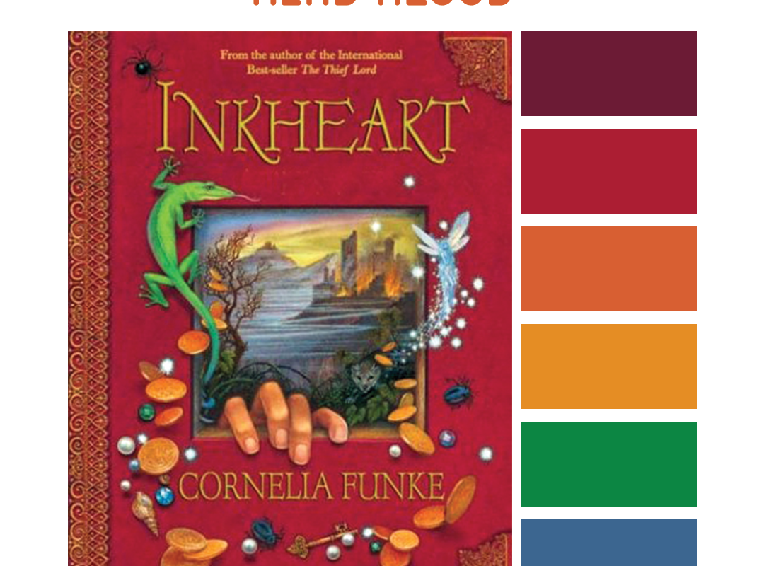 #Read By Color: Read Aloud | features the book cover of INKHEART by Cornelia Funke and a complimentary color palette.