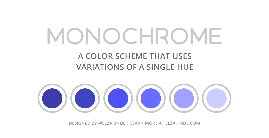 """Graphic features a monochromatic palette of six colors using tints and tones of blue. Text reads: """"Monochrome: a color scheme that uses variations of a single hue. Designed by @ElzaKinde. Learn more at ElzaKinde.com"""""""