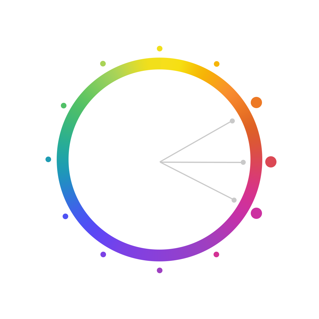 Graphic features a color wheel. Twelve dots highlight different colors of the spectrum. Three hands in the middle of the wheel point to the colors red-orange, red, and magenta.