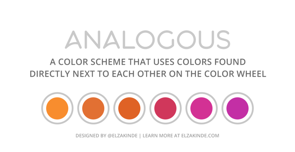 """Graphic features an analogous palette of six colors using colors ranging between red-orange, red, and magenta. Text reads: """"Analogous: a color scheme that uses colors found directly next to each other on the color wheel. Designed by @ElzaKinde. Learn more at ElzaKinde.com"""""""