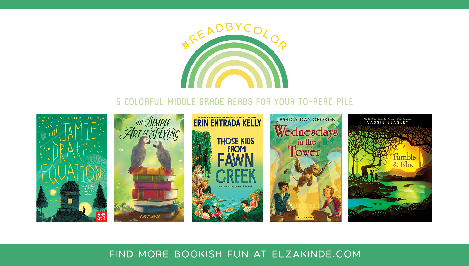 #ReadByColor: 5 Colorful Middle Grade Reads for Your To-Read Pile | features the book covers of THE JAMIE DRAKE EQUATION by Christopher Edge; THE SIMPLE ART OF FLYING by Cory Leonardo; THOSE KIDS FROM FAWN CREEK by Erin Entrada Kelly; WEDNESDAYS IN THE TOWER by Jessica Day George; and TUMBLE & BLUE by Cassie Beasley