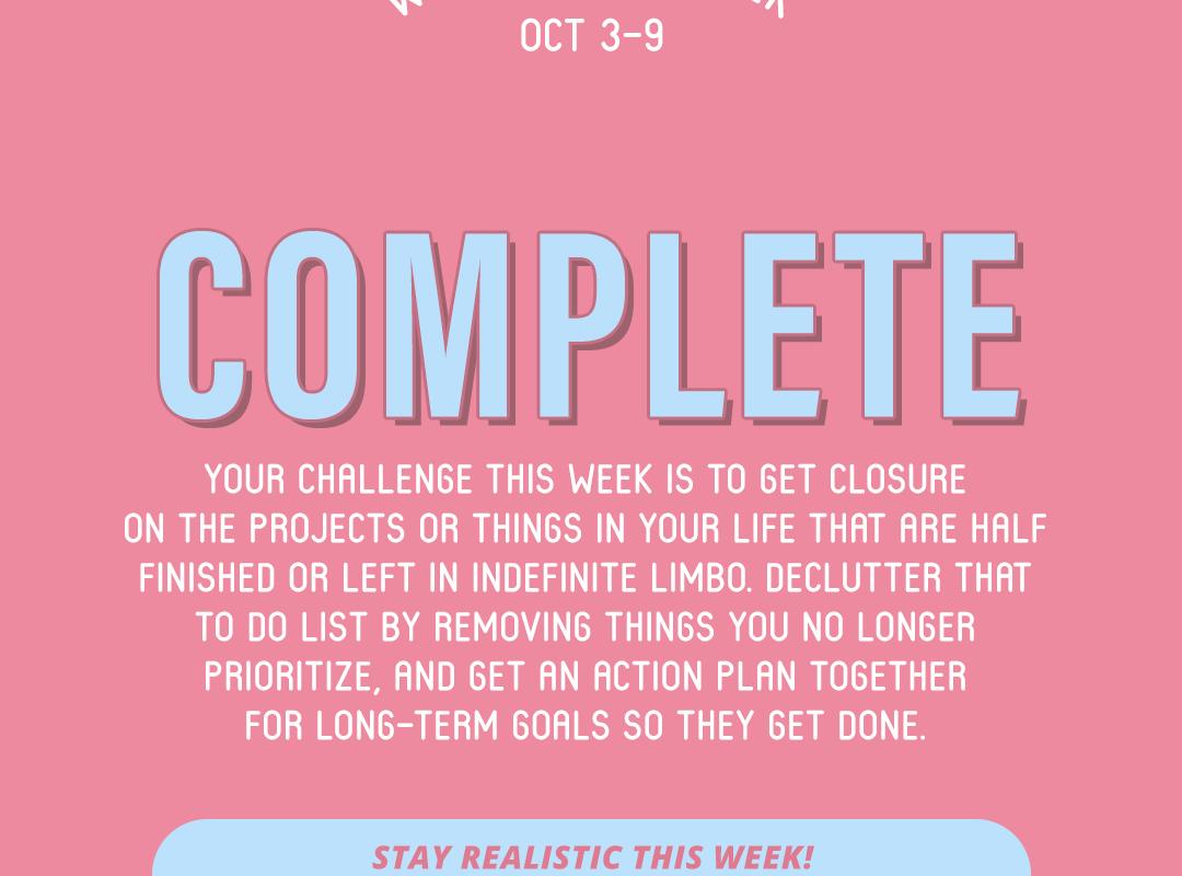 Word of the Week October 3-9: Complete