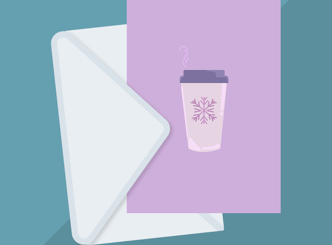 Mockup of a greeting card features the Winter Latte illustrated design from BumbleBess.com