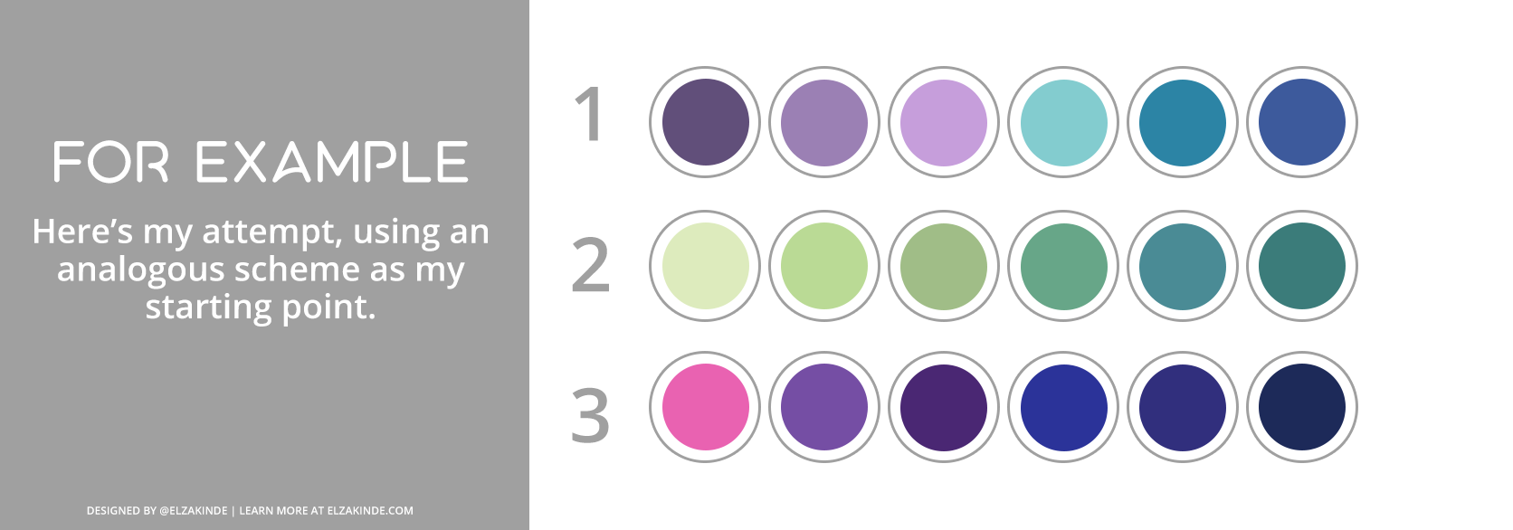 """Graphic features a gray box with text reading """"For Example: Here's my attempt, using an analogous scheme as my starting point."""" To the right, three palettes using the worksheet above. The first features the a palette using eggplant, lavender, robin's egg blue, teal, and royal blue. The second ranges from spring green, green apple, sage, jade, blue-green, and pine. The third palette features magenta, grape, eggplant, midnight blue, navy, and prussian blue."""