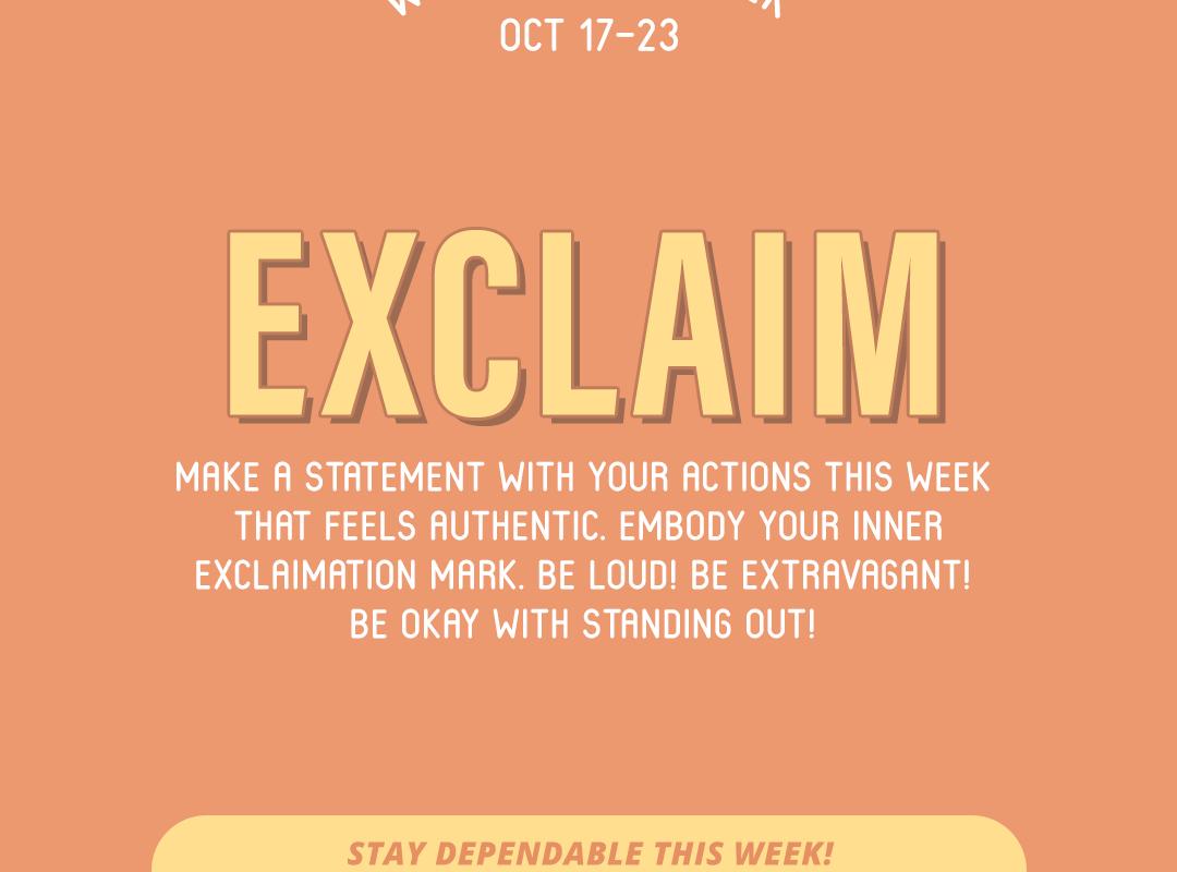Word of the Week October 17-23: Exclaim